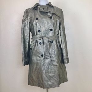 DKNY trench coat, silver metallic tweed, size M